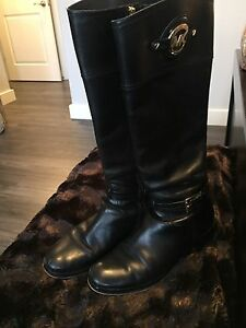 Michael Kors black logo leather riding boots