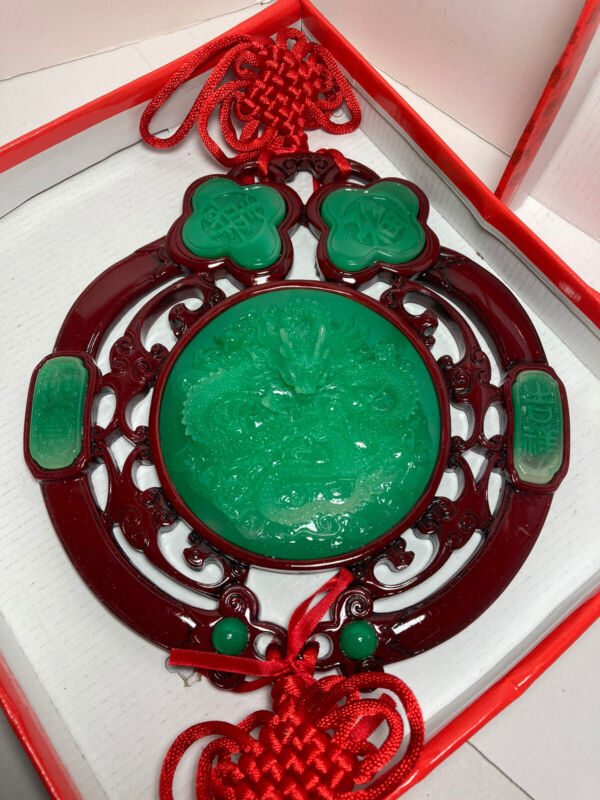 """Red Knot Tassel Faux Jade Dragon Wall Hanging 9.5"""" New"""