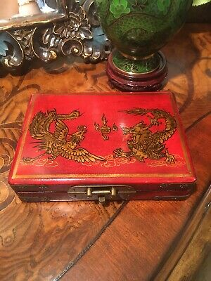 Antique Chinese Red Leather Box-Dragon, Bird & Floral
