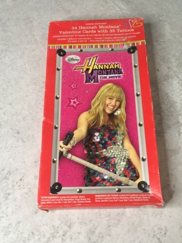 New sealed box 34 Hannah Montana The Movie Valentine cards with 35 tattoos