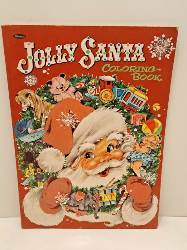 Vintage 1965 Whitman Jumbo Chritmas Jolly Santa Coloring Book Fuzzy Felt Cover