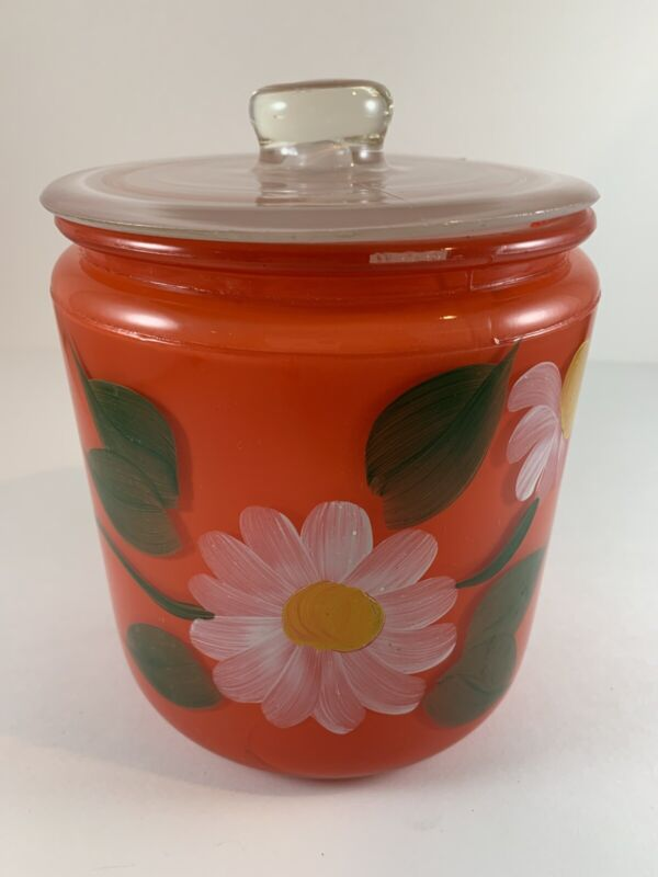 Vintage Red Glass Cookie Jar Canister White Lid Hand Painted Flower