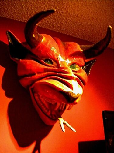 Large Hand Made Paper Mache Red Devil Mask with Horns & Fangs
