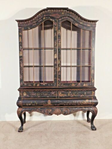 DREXEL Heritage 2 Piece French Chinoiserie Breakfront China Cabinet Display