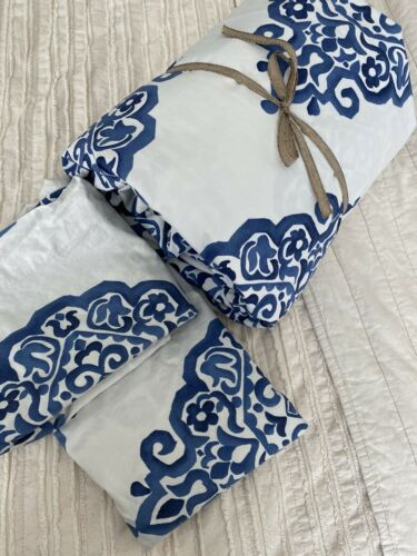 Pottery Barn Asher Organic Blue Full/ Queen Duvet Cover 2 Shams EUC - $52.00