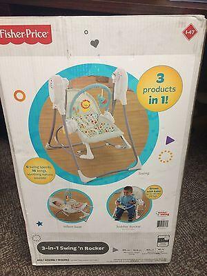 NEW FISHER PRICE BABY 3 IN 1 SWING 'N ROCKER INFANT TODDLER SEAT ROCKER CCL87