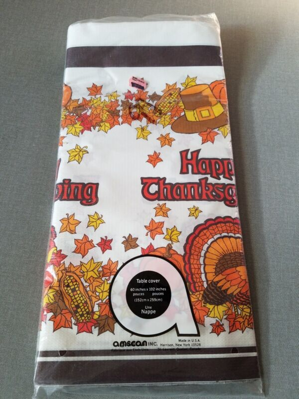 """Thanksgiving paper table cover Amscan new in package 60"""" x 102"""" turkey leaves"""