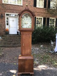 Antique 1827 Grandfather Clock Moon Dial Face Longcase British Flag 1800's Tall