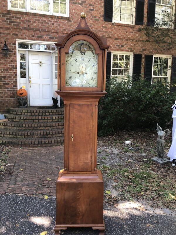 Antique 1827 Grandfather Clock Moon Dial Face Longcase British Flag 1800