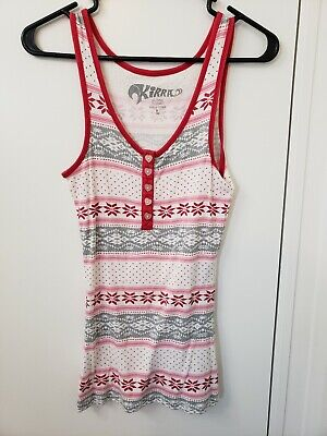 Ruby Ribbed Tank Top - Kirra Ribbed Tank Top Red/Pink/Gray pattern Size Large