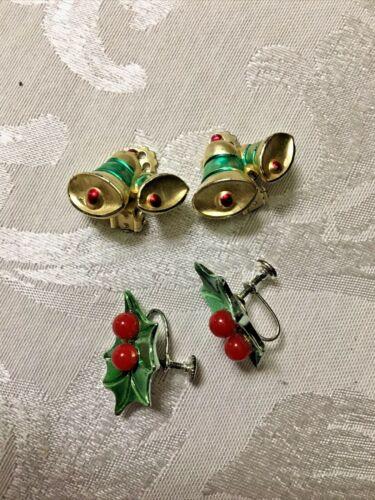 VINTAGE CLIP ON EARRINGS CHRISTMAS BERRIES AND BELLS