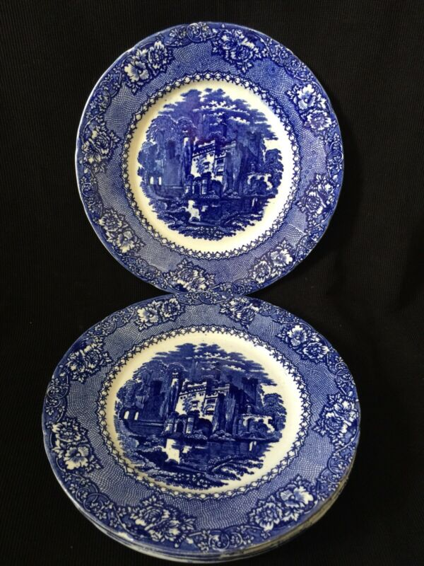 4 Antique ALHAMBRA Dinner Plates Flow Blue TRANSFERWARE England 1800s
