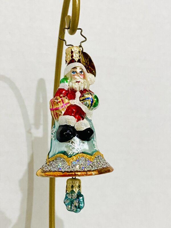 "Radko Little Gem Christmas Tree ornament, Santa  on a blue bell 3"""