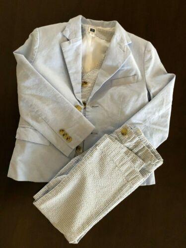 Janie & Jack 4 light blue Oxford blazer,stripe seersucker vest and pants EUC