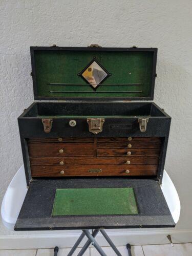 Vintage Gerstner & Sons Machinist Tool Chest Box 41-8 Leatherette Oak, 7 DRAWER