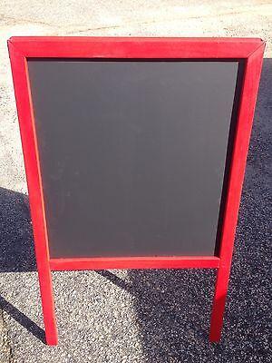 Sidewalk Announcement Display Black Chalkboard 24 X 39 Red Hardwood Frame