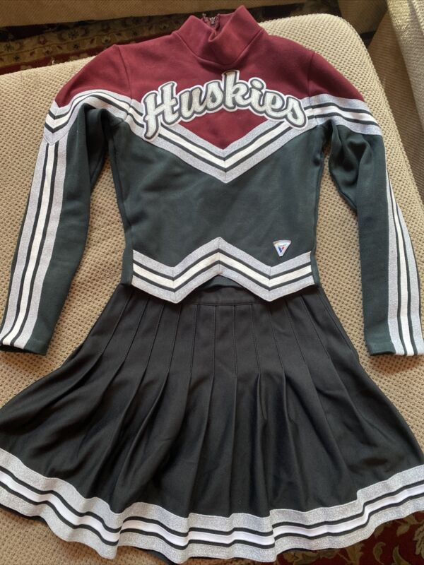 "Varsity Cheerleader Huskies Uniform Skirt and Sweater, Top 32"" x Waist 25"""