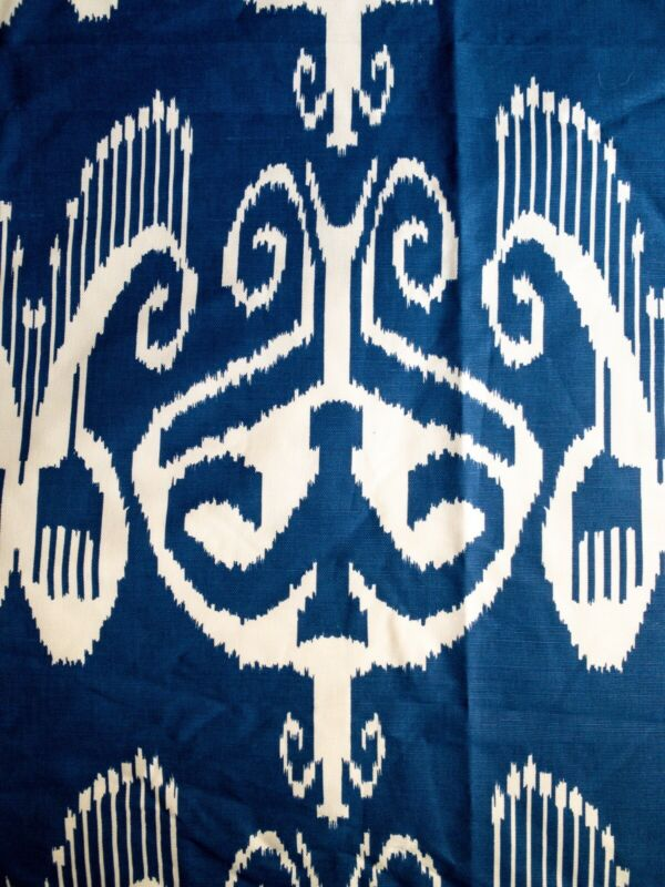 "China Seas ""Nomad"" New Navy On White Cotton/Linen. Two Yards."