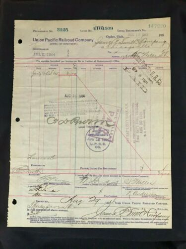 Circa 1904 Union Pacific Railroad Document Dinning Car Bill