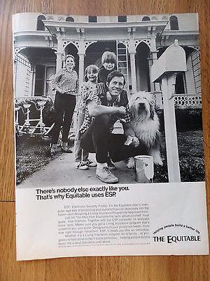 1970 Equitable Life Insurance Ad Esp Old English Sheep Dog   Family