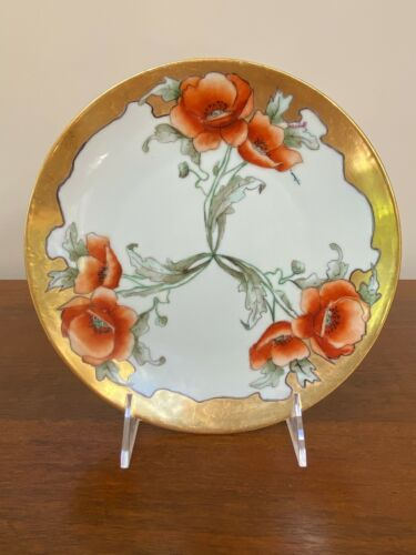 Art Nouveau Hermann Ohme Silesia Porcelain Poppy Plate Signed