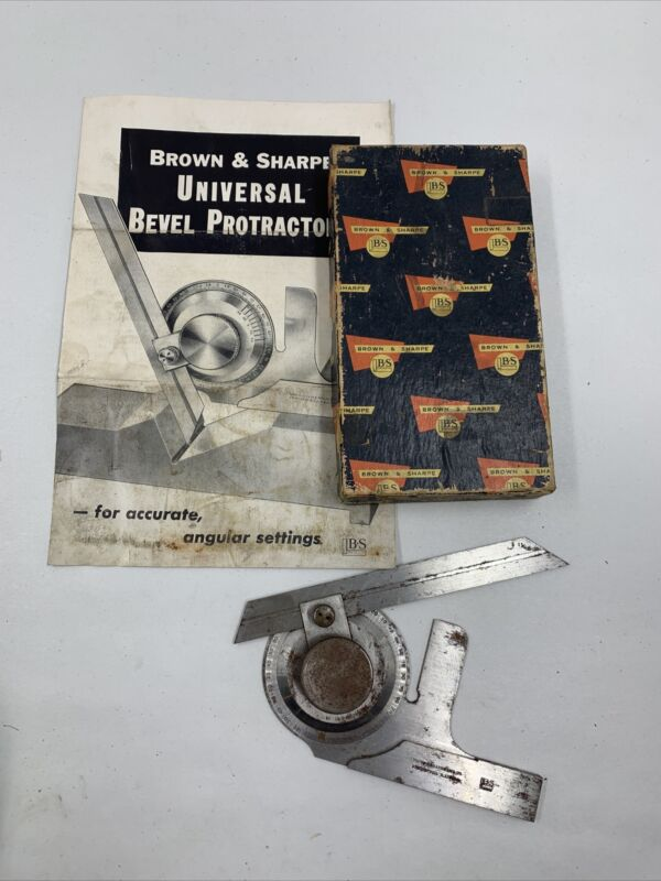 """Brown & Sharp Universal Bevel Protractor 6"""" Blade No 495 with Box,  Instructions"""