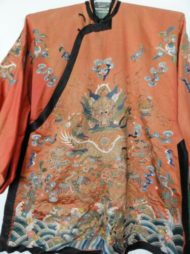 ⭕️ From Local Estate Old Chinese Dragon Robe, Forbidden Stitches, Qing Court
