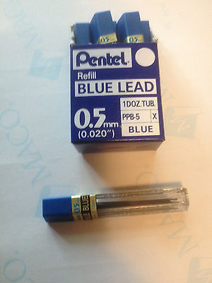 PENTEL COLORED LEAD BLUE .5MM ONE TUBE PENCIL LEADS 12 STICKS NEW LEADS 5MM