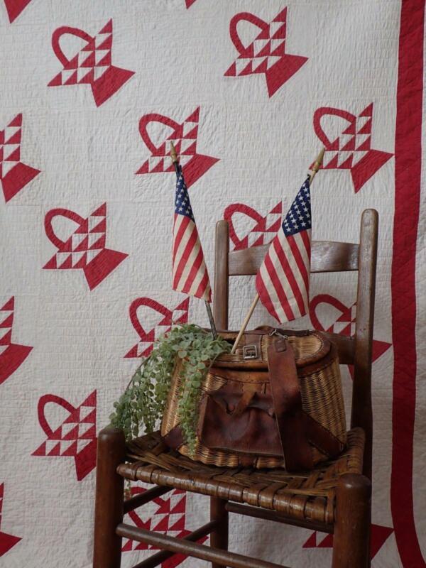 Large Antique c1900 Turkey Red & White Basket QUILT 102x82