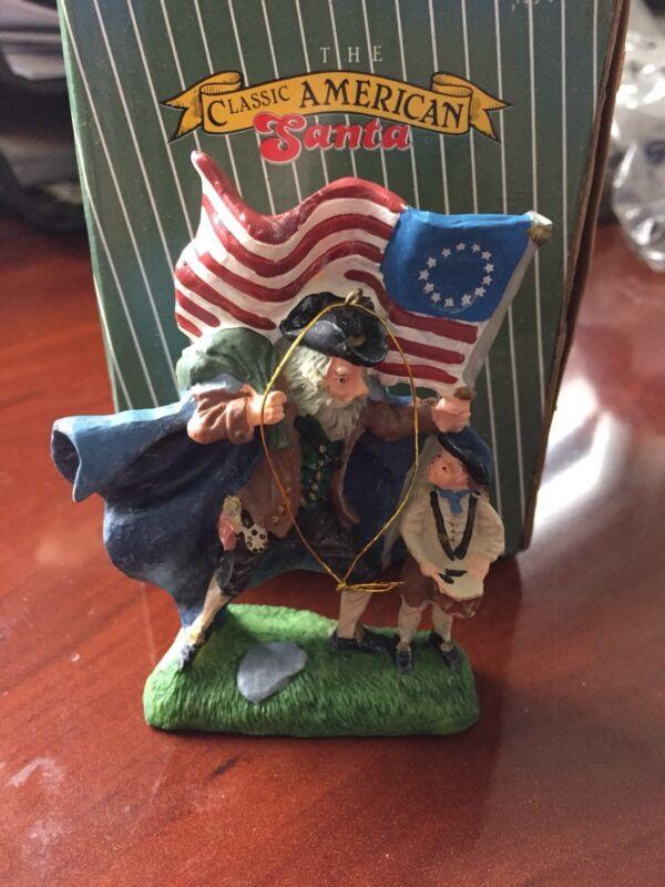 Vintage Classic American Santa 1776 Independence War Santa Ornament Figure