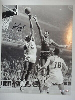 BILL RUSSELL #6 PSA/DNA CERTIFIED SIGNED AUTOGRAPH 16X20 PHOTOGRAPH WITH WILT