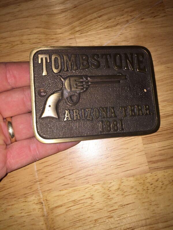 Tombstone Sign Arizona Territory Solid Metal Plaque Brass Wyatt Earp Wild West