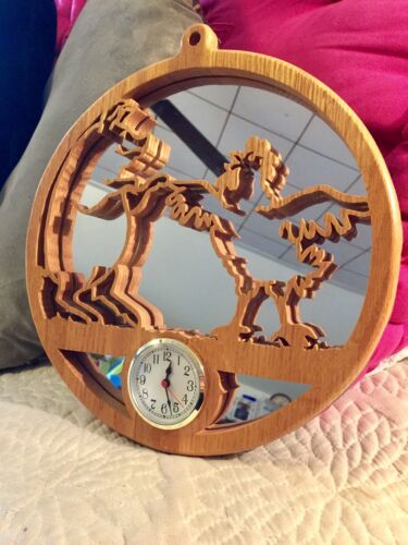 """Unique Round Wood Farm Animal Cut-Out Mirror Wall Clock/Pig/Rooster/11.5"""""""