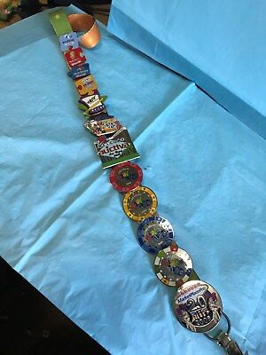 TWELVE EBAY PINS ON LANYARD-------------------------------------------------d
