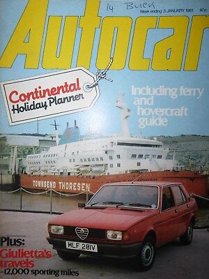 AUTOCAR 81/01/03 OPEL MANTA GT/J ALFA ROMEO GIULIETTA FERRARI 365 GTC for sale  Shipping to South Africa