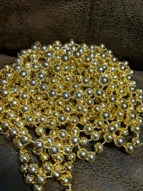 20 foot Gold Christmas Bead Beaded Garland Ornaments Vintage