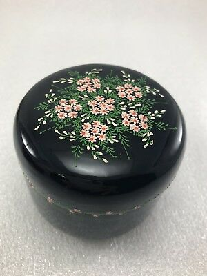 Z22 WOOD  Lacquer Tea CADDY Container / Tea  Container Flower Floral