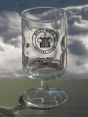 "ROLLS ROYCE OWNERS CLUB ATLANTIC REGION WINE TASTING 1976 GLASS Holds 8 oz. 4 ½"""