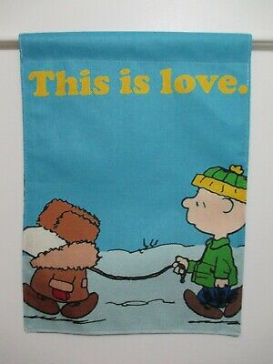 PEANUTS SNOOPY CHARLIE BROWN THIS IS LOVE WALK IN SNOW - SMALL 13x18 FLAG - NEW