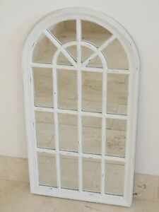Wooden framed Arch Window Style Mirror Antique White Distressed