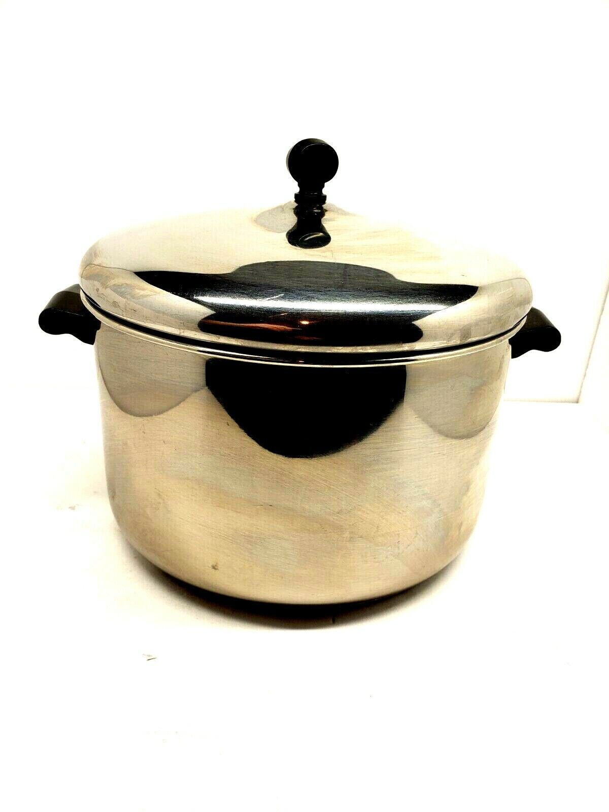 Vintage FARBERWARE 8 Qt Stock Pot Pan Aluminum Clad Stainles