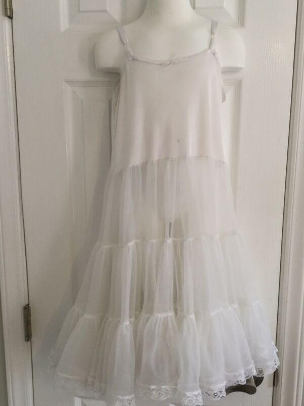 Sterling Kids Nylon Full Slip White Full Skirt Vintage Girls Size 10