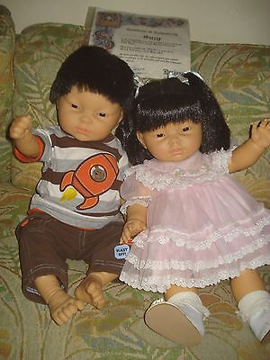 Lot of 2 REAL Berenguer/Berjusa Cute EC Asian/Oriental baby dolls+1 COA &Box top