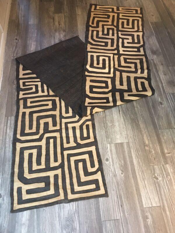 """Hand-woven Original Kuba Cloth Textile Runner African Tribal 11 feet 6"""" By 22"""""""