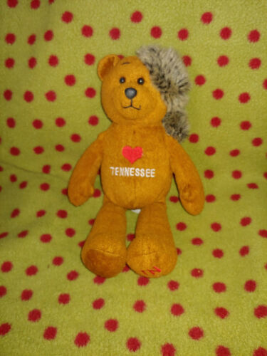 """9"""" Collectible I  Heart TENNESSEE Beanie Plush Bear in COONSKIN Cap Cute"""