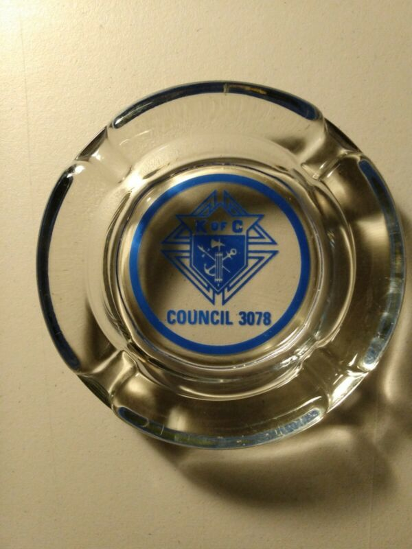 """Vintage Glass Knights Of Columbus, Ashtray, 4.5"""", Used."""
