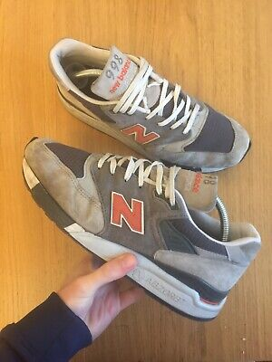 New Balance 998 Made In USA Size 9 UK Trainers Mens NB Grey Orange