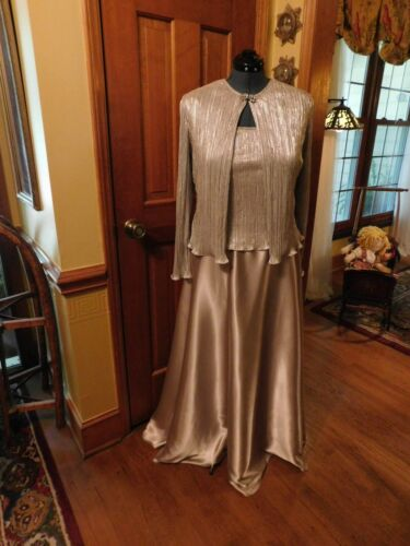 """STUNNING """"CACHET"""" 2 PIECE FORMAL GOWN & JACKET CHARMEUSE & RIBBED TOP SZ 14"""