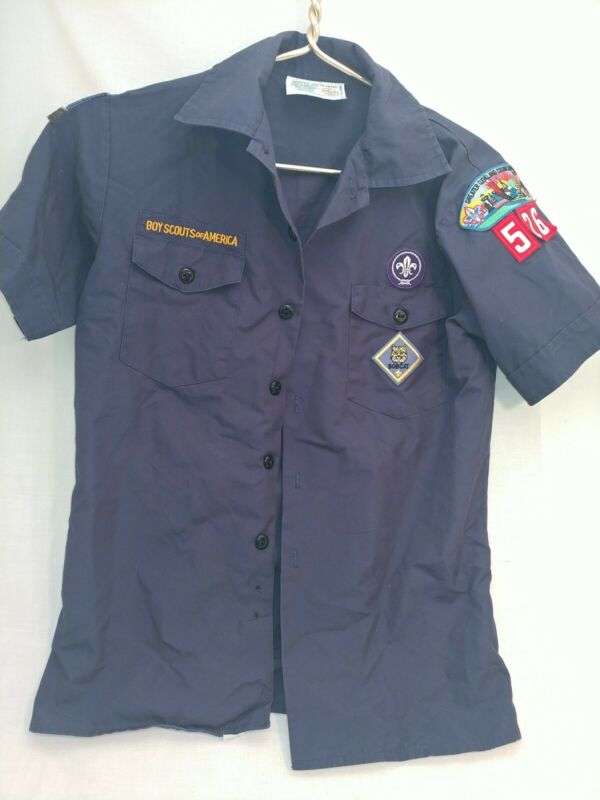 Youth Large L Cub Scout BSA Official Shirt Blue Short Sleeve with patches