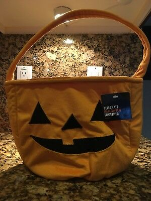 Halloween Pumpkin Tote,Trick or Treat Bag w/Handle, Plush Holiday, Retail - Trick Or Treat Halloween Pumpkin